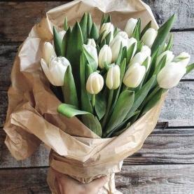 19 Белых Пионовидных Тюльпанов фото