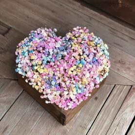 Сердце из 21 Разноцветных Гипсофил фото