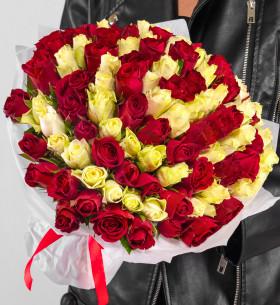 101 Белая и Красная Роза (30-40 см.) гипноз фото