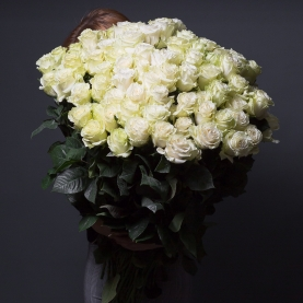101 Белая Роза Эквадор (90/100 см.) фото