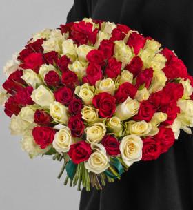 101 Белая и Красная Роза (40 см.) фото