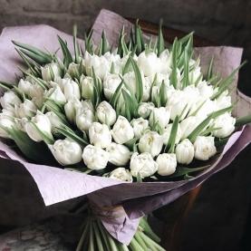 101 Белый Пионовидный Тюльпан фото