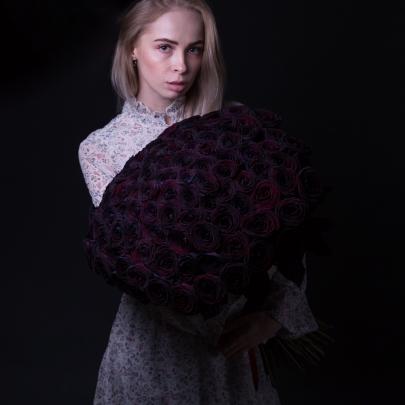 101 Черная Роза (60 см.) фото
