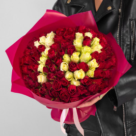 101 Красная и Белая Роза (30-40 см.) цифры фото