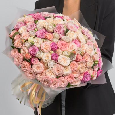 101 Кустовая Пионовидная Роза Микс (50 см.) фото