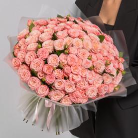 101 Кустовая Пионовидная Персиковая Роза (50 см.) фото