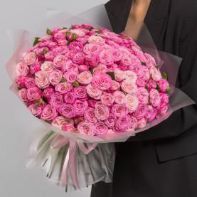 101 Кустовая Пионовидная Розовая Роза (50 см.) фото