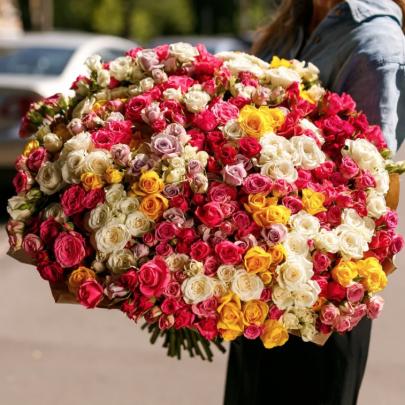 101 Кустовая Разноцветная Роза (50 см.) фото