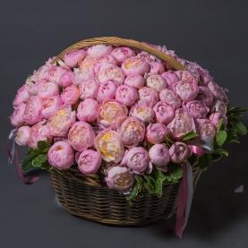 101 Розовый Пион в корзине фото