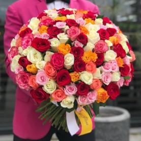 101 Разноцветная Роза (50 см.)