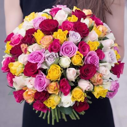 101 Роза Микс (40 см.) фото