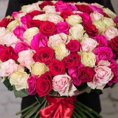 101 Разноцветная Роза Эквадор (50/60 см.) фото