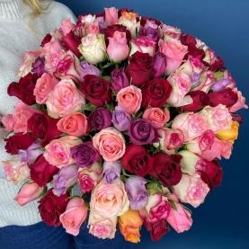 101 Роза Mix Кения (50 см.) фото