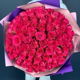 101 Роза Pink Rodos (50/60 см.) фото