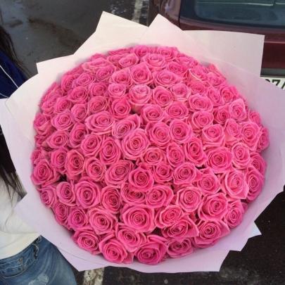 101 Розовая Роза Эквадор (50/60 см.) фото