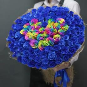 101 Синяя Роза (70 см.) сердце