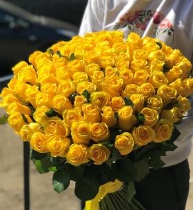 101 Желтая Роза (50/60 см.) фото