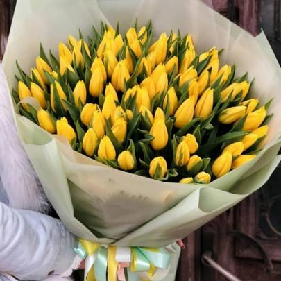 101 Желтый Тюльпан в пленке  фото
