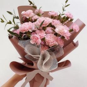 11 Кустовых Розовых Гвоздик фото