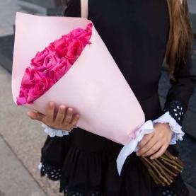 11 Малиновых Роз Эквадор (50-60 см.) фото