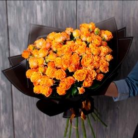 11 Оранжевых Роз Кустовых (50 см.) фото