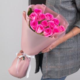 11 Ярко-Розовых Роз (50 см.) фото
