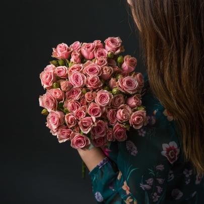 11 Розовых Роз Кустовых фото