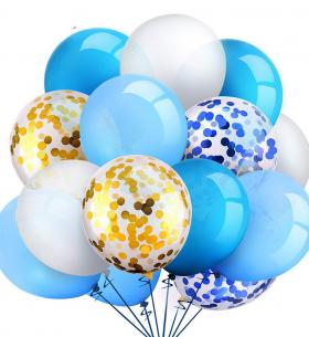 15 Бело-Голубых Воздушных Шаров