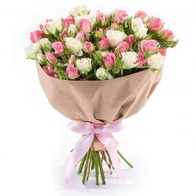 15 Бело-Розовых Кустовых Роз (50/60 см.) фото