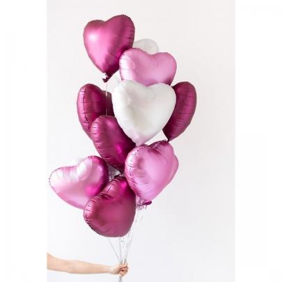 """15 Бело-Розовых воздушных шаров """"Сердце"""" фото"""