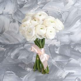 15 Белых Ранункулюсов фото