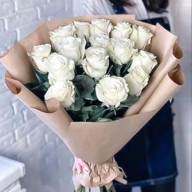 15 Белых Роз Эквадор (50/60 см.) фото