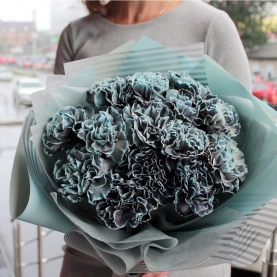 15 Черно-Голубых Гвоздик фото