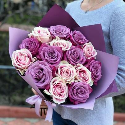 15 Розово-Сиреневых Роз Эквадор (70/80 см.) фото