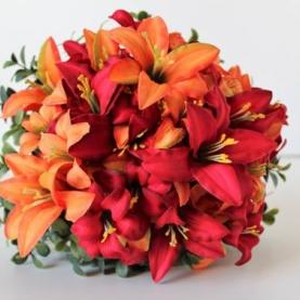 15 Красных и Оранжевых Лилий фото