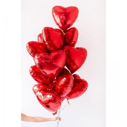 """15 Красных воздушных шаров """"Сердце"""" фото"""