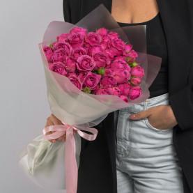 15 Кустовых Пионовидных Малиновых Роз (50 см.) фото
