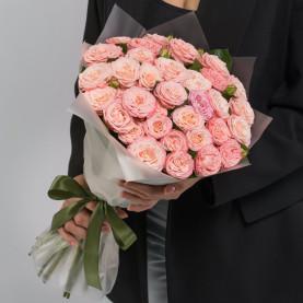 15 Кустовых Пионовидных Персиковых Роз (50 см.) фото