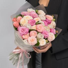 15 Кустовых Пионовидных Роз Микс (50 см.) фото