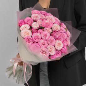 15 Кустовых Пионовидных Розовых Роз (50 см.) фото