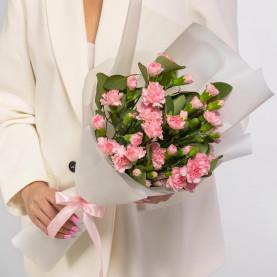 15 Кустовых Розовых Гвоздик фото