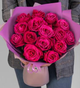 15 Малиновых Роз (50 см.) фото