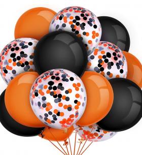 15 Оранжево-Черных Воздушных Шаров
