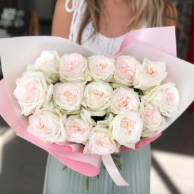 15 Пионовидных Роз White Ohara (50 см.) фото