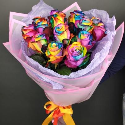 15 Радужных Роз (60 см.) фото
