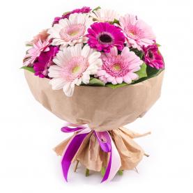 15 Розово-Малиновых Гербер фото
