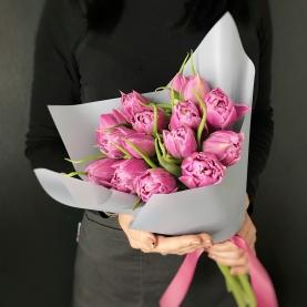 15 Розовых Пионовидных Тюльпанов фото