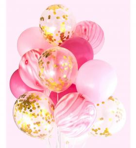"""15 Воздушных Шаров """"Розовый Микс"""""""