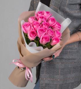 15 Ярко-Розовых Роз (50 см.) фото