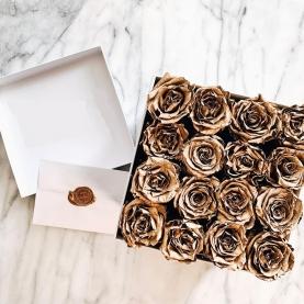 15 Золотых Роз В Коробке фото